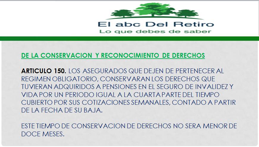 Articulo 150 Pensiones IMSS